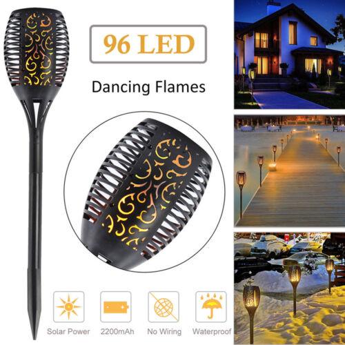 96 LED Flame Solar Torch Light Waterproof Flickering Dancing Path Garden Lamp