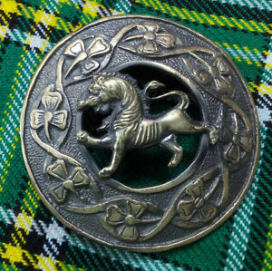 "New Lion Rampant Fly Plaid Brooch Antique Finish 3""/Irish Shamrock Brooch Antiqu"
