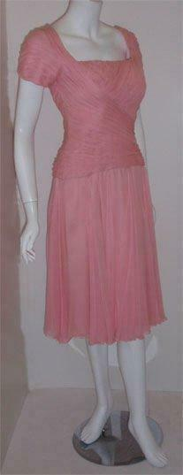 CEIL CHAPMAN 1960s Pink Chiffon Bodice Cocktail D… - image 5