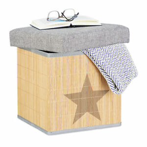 Taburete-plegable-de-bambu-Puff-caja-almacenaje-con-tapa-36-cm-natural-y-gris