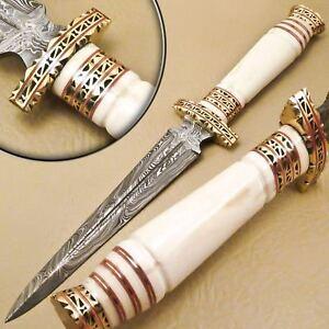 FANCY-CUSTOM-HAND-MADE-DAMASCUS-STEEL-HUNTING-DAGGER-KNIFE-HANDLE-CAMEL-BONE