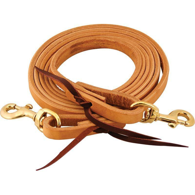 Western Natural color Leather Roping Reins with Steel Trigger Snaps