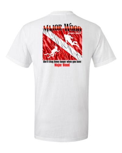 Major Wood Funny t shirt short sleeve scuba diving johnson big spear fishing