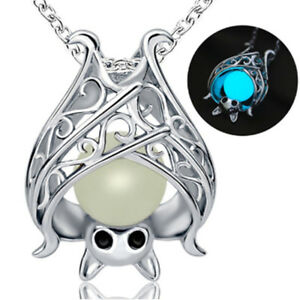 AA-Eg-Damen-Silberkette-Leuchtendes-Anhaenger-Modeschmuck-Fledermaus-Halskette