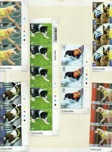 GB-2008-Working-Dogs-set-in-vertical-marginal-strips-of-2-3-with-T-L-dots-MNH