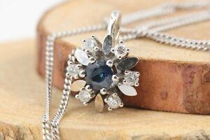 Saphir-Diamant-Gold-Collier-Halskette-585-14K-Safir-0-40ct-6-Brillanten-40cm