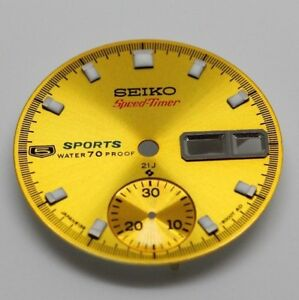 Yellow-Dial-for-Vintage-Rare-seiko-5-Sport-pogue-chro-watch-6139-6000-Speedtimer