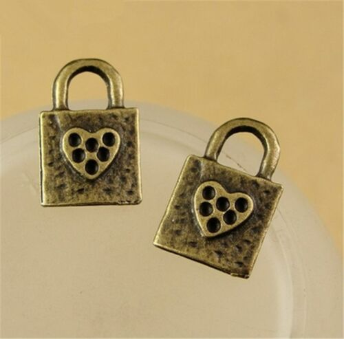 P1539 12pc DIY Antique Bronze LOCK HEART Pendant Bead Charms Jewellery Making