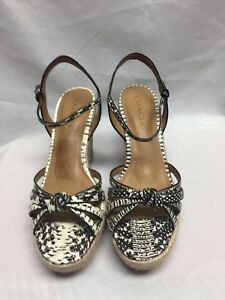 2bbe08fdc61 Image is loading COACH-Dalton-Espadrille-Wedge-Sandals-snake-calf-leather-