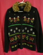 Medium Crystal Kobe Black Christmas Sweater fake fur collar