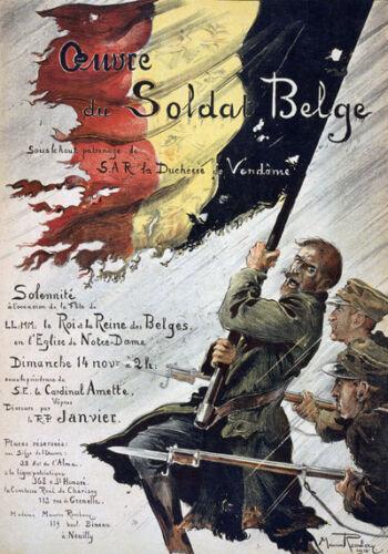 W13 Vintage WWI Belgium Belgian World War Poster WW1 Re-Print A4