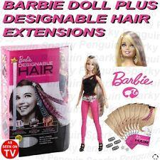 BARBIE DOLL + 16 DESIGNABLE INKJET PRINTER HAIR EXTENSIONS FOR KIDS GIRLS CHILDS