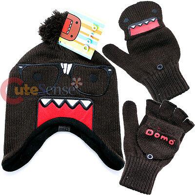 Domo Kun Nerd Knitted Laplander Hat Beanie with Fingerless Mitten Glove Set
