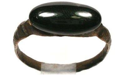 AD300 Bronze Roman Carthage (Tunisia) Sz9 Ring & 19thC Antique 4ct Onyx Gemstone