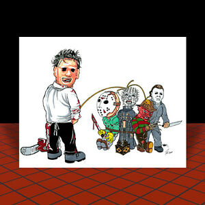 Gunnar Hansen movie LEATHERFACE The Texas Chainsaw Massacre ART artist signed