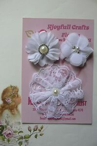 HANDMADE-3-Flower-Mixed-Styles-ALL-WHITE-Organza-Lace-55-amp-90mm-Njoyfull-Crafts