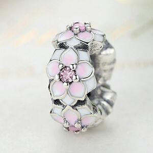 Solid-925-Sterling-Silver-Pink-CZ-Magnolia-Bloom-Spacer-Charm-fit-DIY-Bracelet