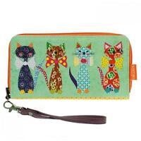 Santoro Eclectic 'cats With Bow Ties' Large Zipped Wallet