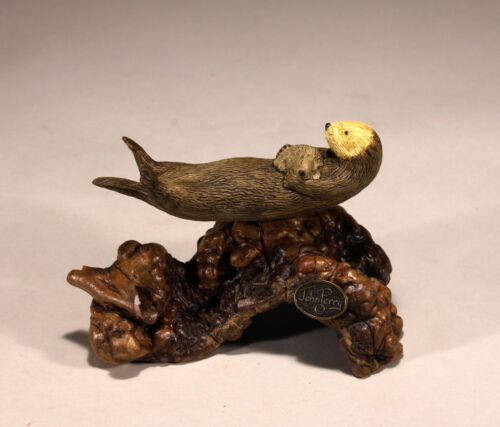 SEA OTTER  MOTHER /& PUP New Direct from John Perry 5in long Sculpture Statue
