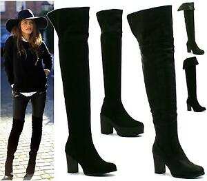 LADIES-WOMENS-THIGH-HIGH-OVER-THE-KNEE-MID-HIGH-HEEL-PLATFORM-STRETCHY-BOOTS