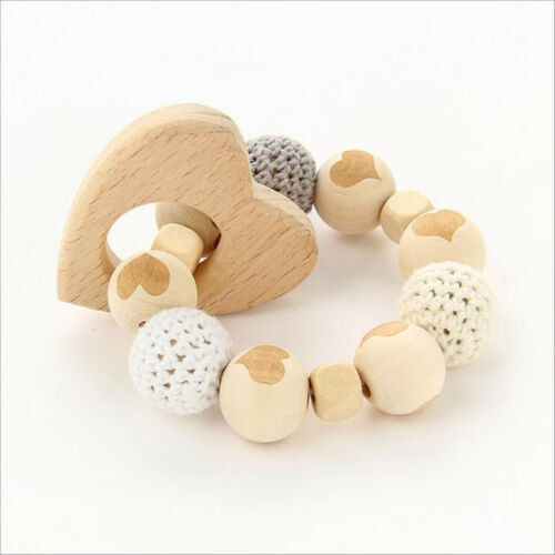 1X Safety Wooden Baby Teether Cartoon shape Wood color Beaded Molar Stick Toy