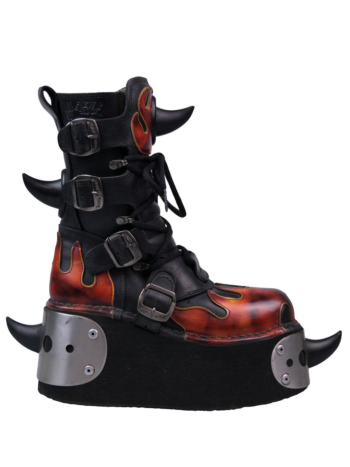 New Rock Stiefel     Stiefel 539 Plateau Flamme   Spikes   Hörner   Schnallen  5041   6cdc45
