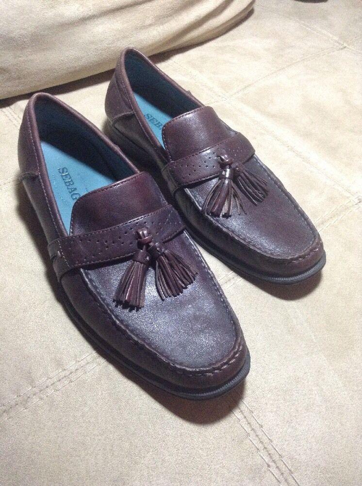 Sebago Vibram Sussex Tassel Dark Brown leather Loafers Career Business Sz 8M EUC