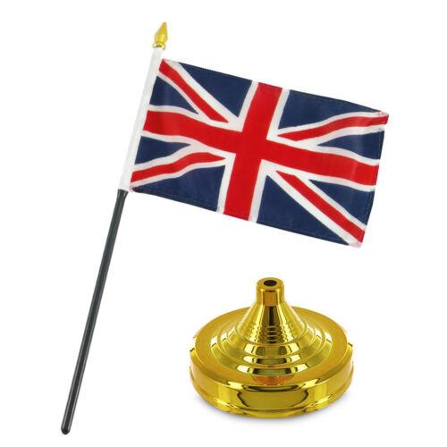 "UK United Kingdom 4/""x6/"" Flag Desk Set Table Stick Gold Base"