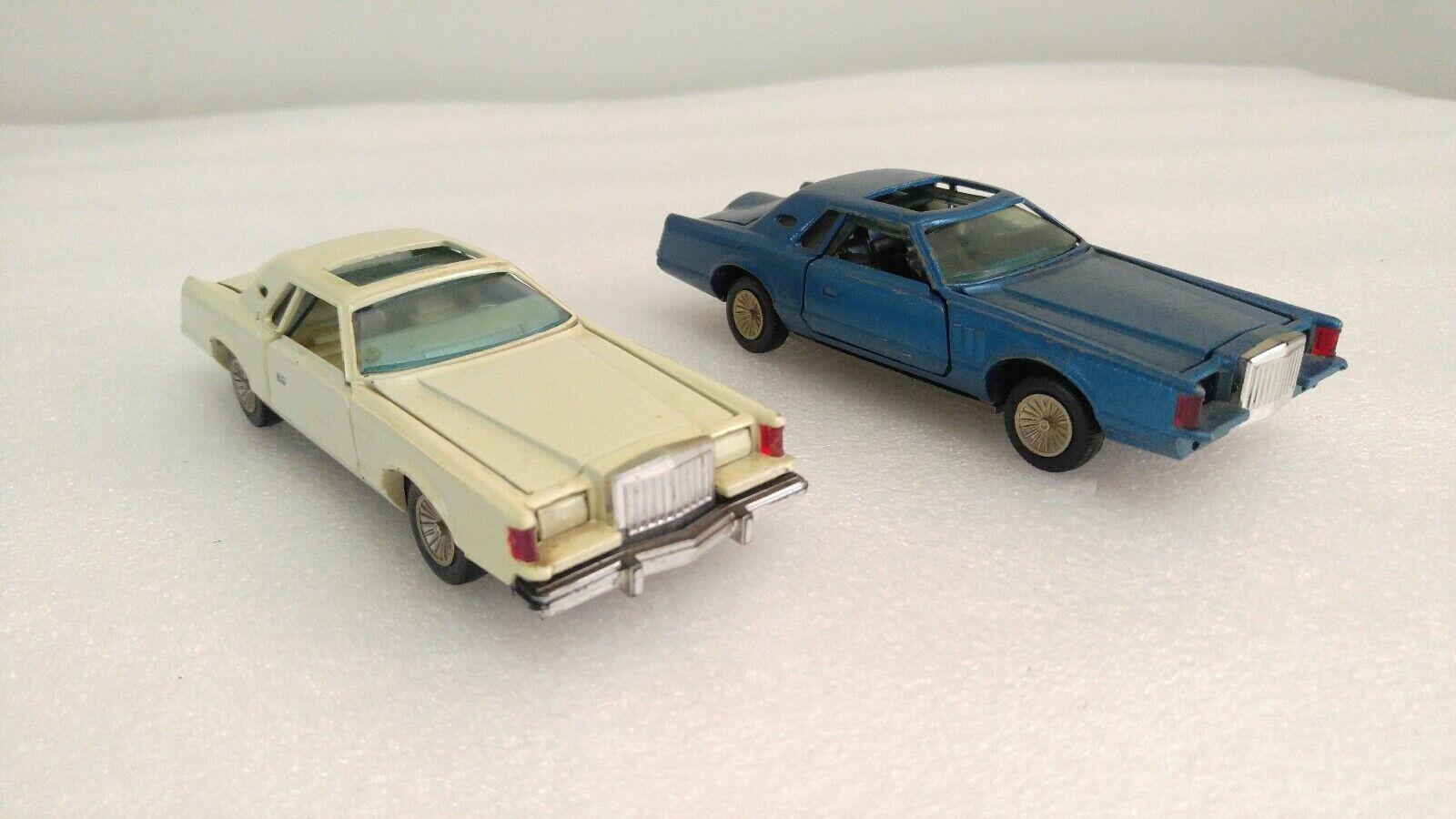 2 Yonezawa Toys Lincoln Continental Vintage Coches de fundición azul blancooo