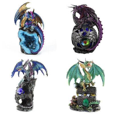 Blue Sitting Dragon on Rock LED Ornament Sculpture Figurine Art Decor Fantasy Gift
