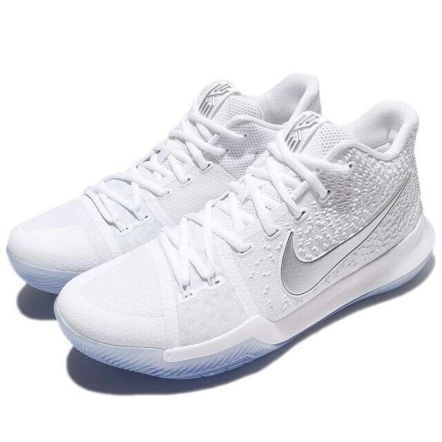 31422a6b51fe Nike Kyrie 3 III Triple White Chrome Ice Basketball Shoes 852395-103 Men Sz  11.5 for sale online