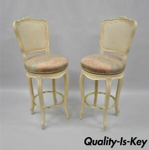 Superb Details About Vtg French Country Louis Xv Style Cane Back Swivel Bar Stools Chairs Wood A Pair Caraccident5 Cool Chair Designs And Ideas Caraccident5Info