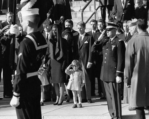 JFK JUNIOR SALUTE JOHN F KENNEDY FUNERAL 8x10 SILVER HALIDE PHOTO PRINT