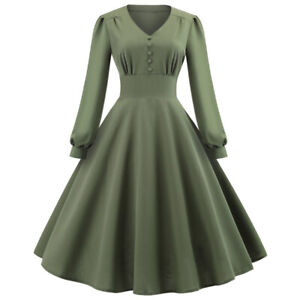 Women-039-s-Retro-50s-Vintage-Army-Green-Rockabilly-Flared-Pinup-Swing-Party-Dress