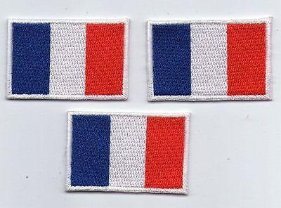 LOT 3 ECUSSON PATCHE THERMOCOLLANT DRAPEAU FRANCE DIMENSIONS 4,5 X 3 CM