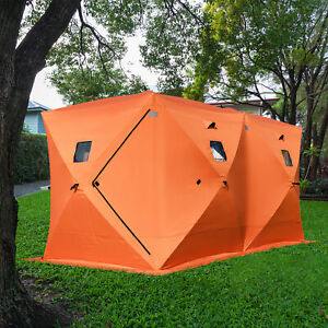 Pop-up-8-person-Ice-Shelter-Fishing-Tent-Winter-Shanty-Anchors-Portable-Window