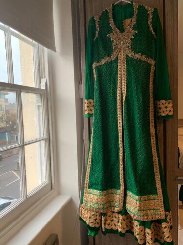 Lengha m 10 Abaya Mendhi Choli verde maniche lunghe indiano Taglia Anarkali S Abito a OqwpCnY