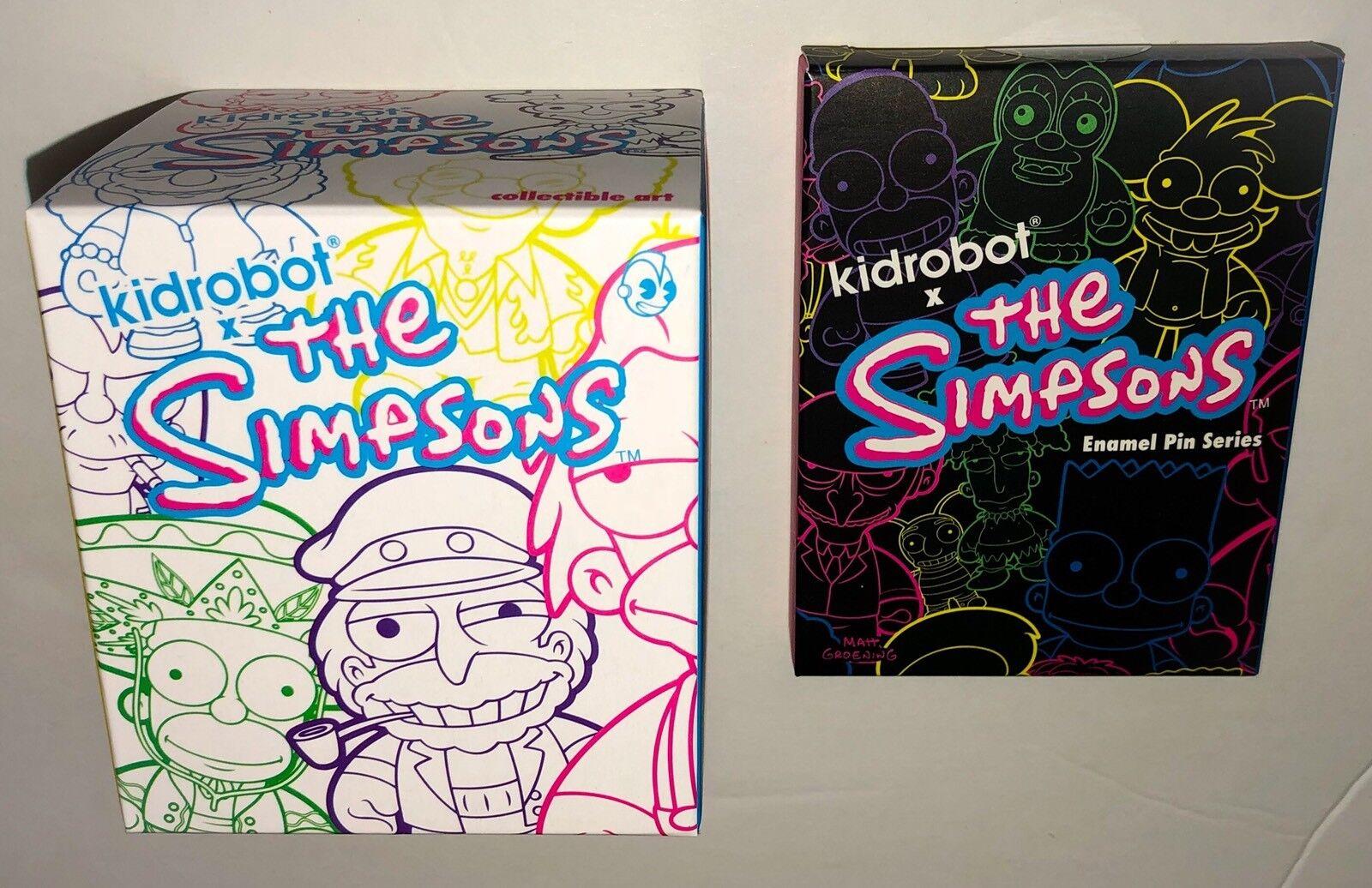 KIDROBOT The Simpsons Series 2 Blindbox Figure + Enamel Pin Mystery Blind Boxes