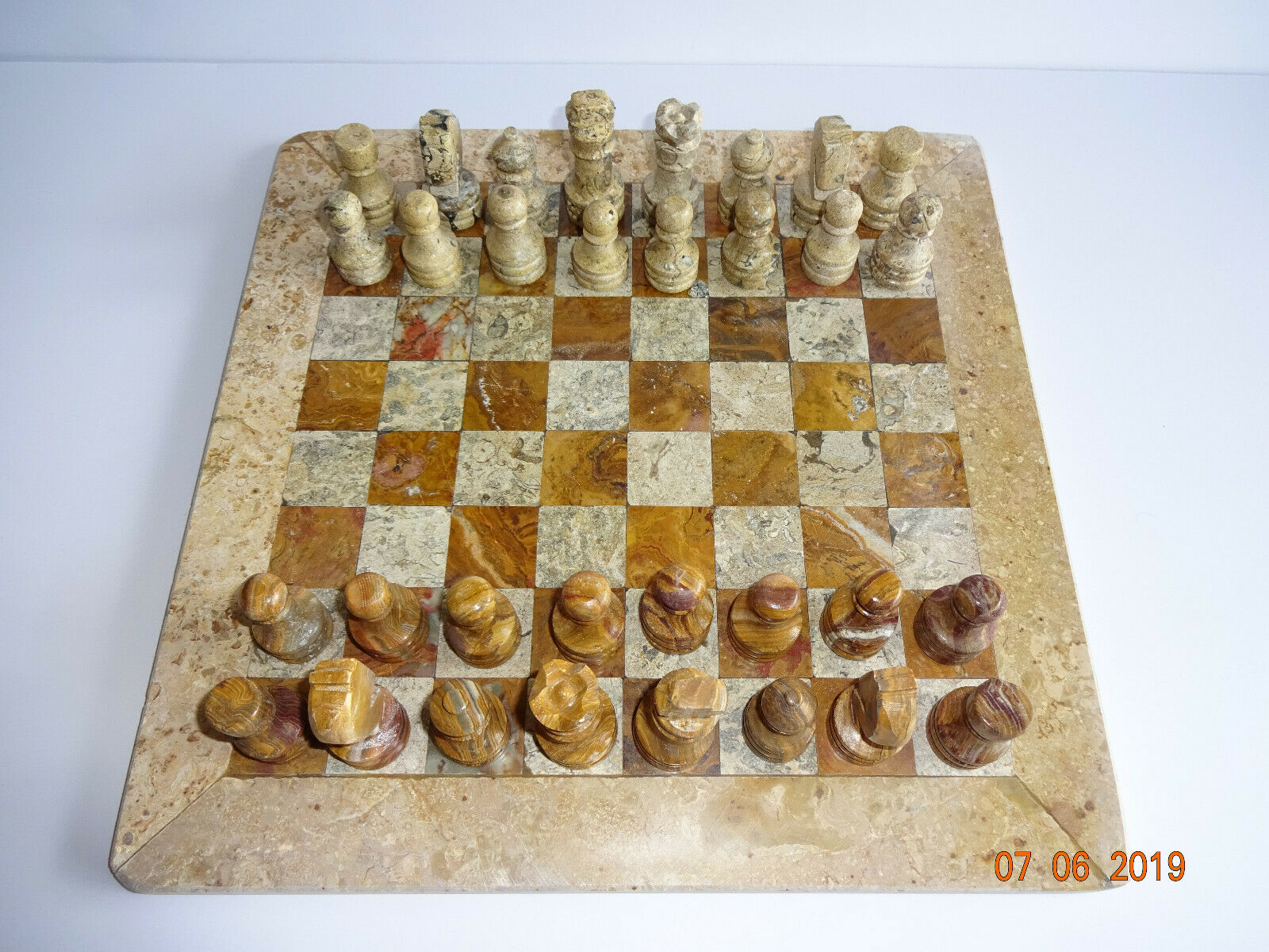 Marble Chess Set Stone Brown Tan Pieces Board Game No Case 12  x 12  New NOS