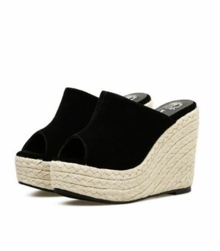 Beige Seil Simil Leder Hausschuhe Schwarz Sandalen 12 Komfortabel Cm Keilabsätze 7Iwxg4q