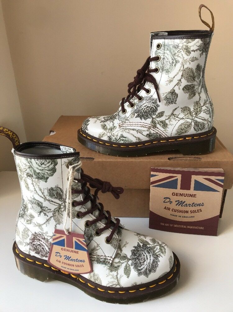 Bnib  Dr.Martens 1460 Grau Tapestry Floral Leder Stiefel Sz UK3 Made In England