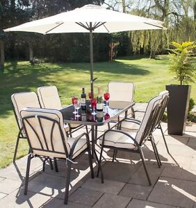 Image Is Loading Garden Dining Set 6 Seater Patio Table Chair