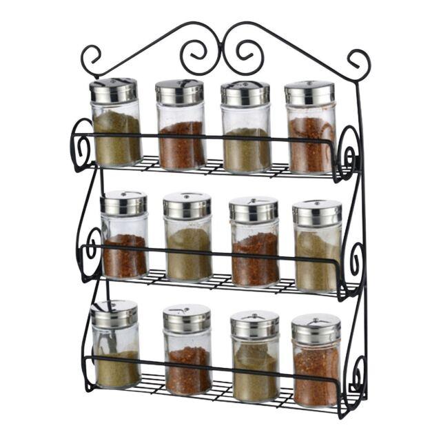 3 Tier E Herb Jar Rack Holder Kitchen Door Cupboard Storage Wall Mounted New