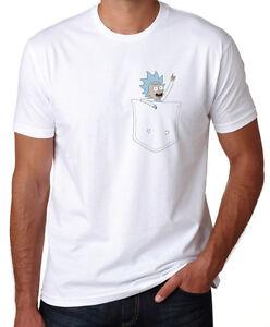 Rick-And-Morty-Incredibly-Tiny-Pocket-Rick-Funny-Cartoon-New-White-T-Shirt