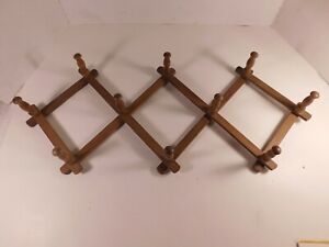 Details About Vintage Wooden Shaker 10 Peg Expandable Wall Mounted Hat Rack