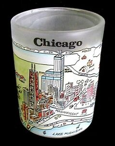 CHICAGO Votive Candle Holder Frosted Glass City Scene 2-5 ...