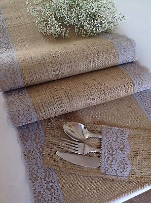 180cm, Natural Hessian/Burlap and Grey Lace Table Runner