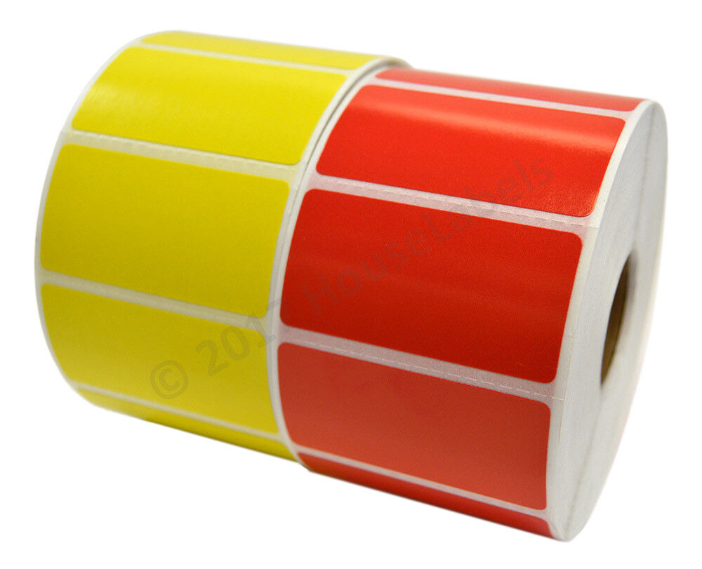 34 Rolls 44200 Labels 2 x 1 Direct Thermal Zebra RED and YELLOW Combo, 17 Each