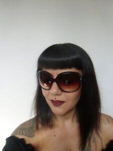 Détails sur Grosses lunettes de soleil oversize branches monture marron rétro pinup