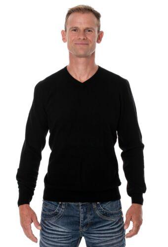 Schwarz Ugholin Herren V-Ausschnitt 100/% Yak-Wolle Pullover